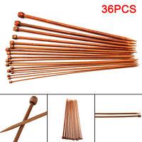 Set 36pcs Single Pointed Bamboo Knitting Needles 2mm - 10mm 25/36CM Sizes