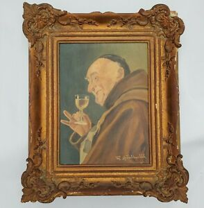 Vintage Antique Oil Painting on Wood Framed Religious Monk Wine 11.5x13.5 Signed