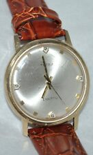 "Vintage Timex Electric ""France"" Back Set Crown Brown Leather Band Working"