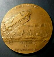 World War I Breton-Prétot machine Tank French bronze medal by Léon Deschamps