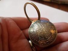 Boîte à pilules/pocket watch chain fob porte-clés demi-couronne pièces 1947. 70TH cadeau