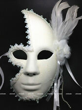 Full Face Venetian Masquerade Party Womens White Glitter Mask w/Flower&Feather