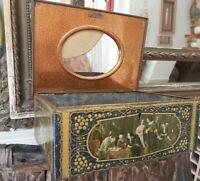 Boite à couture bijoux Métal Coffret Miroir à restaurer Collection ancien déco