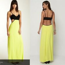 Josh Brody Open Back Maxi Neon and Black Contrast Cutout Dress Small