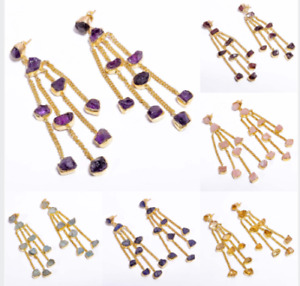 Raw Natural Gemstone Earrings, Gold Plated Brass Handmade Women Jewelry BE101b