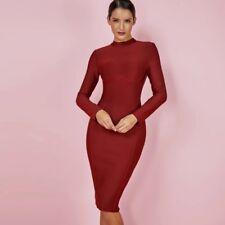 Celeb Style Wine Burghandy Ines Long Sleeve Bandage Party Dress Size S 8-10
