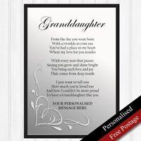 Granddaughter Gift. Personalised Birthday Keepsake for Granddaughter. PRINT ONLY