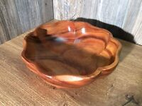 Mid Century Modern Clover Leaf Shape Salad Fruit Bowl Teak Wood K5