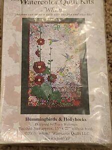 Easy Watercolor Quilt Kit--Hummingbirds & Hollyhocks--Great Buy!