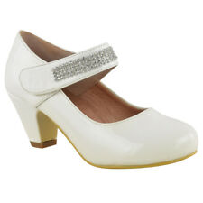Girls Kids Ladies Low Heel Party Wedding Communion Bridesmaid Shoes Size 1