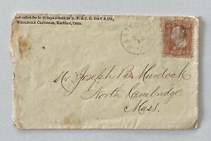 1860s 3c AF & CG Day Wholesale Clothiers Fancy Cancel Hartford to NorthCambridge