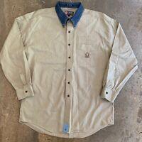 CHAPS RALPH LAUREN Vtg 90s Blue Jean Denim Collar L/S Khaki Shirt, Mens LARGE