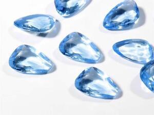 Lot (15) 17mm Czech vintage scalene faceted blue glass rhinestones