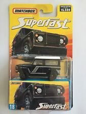 VERY RARE 2006 Matchbox Superfast BLACK 1987 LAND ROVER DEFENDER 90 - mint card!