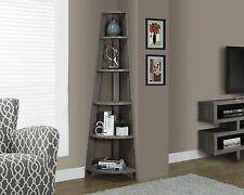 Corner Shelf Bookcase Bookshelf Display Etagere Unit Wood Tall Accent Tier Taupe