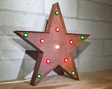 "24"" LARGE MARQUEE Christmas STAR Rustic Metal Vintage Inspired Light MORE COLORS"