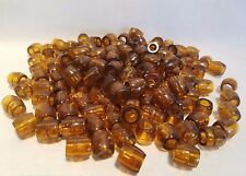 """Lot of 150 Clear Brown Plastic Small Barrel Macrame Craft Beads 12mm 1/2"""""""