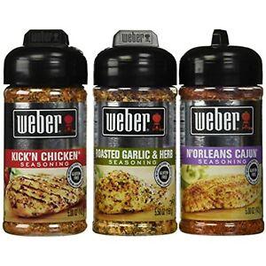 Weber All Natural Seasoning Blend 3 Flavor Variety Bundle: N'Orleans Cajun