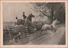 RIDING Horses, POINT TO POINT, Cross Country, Genesee Valley, antique print 1892