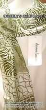 Nwt DENNIS BASSO Women's Green & Beige Animal Print 62x14 Long Scarf Italy New