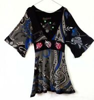 Desigual Dress Size S Black Blue Grey Kimono Sleeves A-Line Casual Spain V-Neck