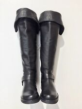 Frye Veronica Harness Over The Knee Boots Black Moto Buckle Leather Size 5.5B