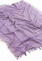 Womens GUCCI Shawl Wrap Scarf Monogram Wool Silk Purple