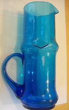 "Beautiful Tall 11.25"" Cobalt Blue Pressed Glass Pitcher"