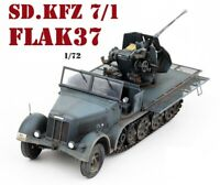 New 1/72 Scale WWII German SD.KFZ 7/1 Flak37 Antiaircraft Gun Grey Plastic Model