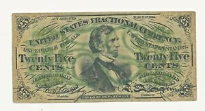 1863 25 TWENTY FIVE CENTS FRACTIONAL CURRENCY  BANK NOTE CIVIL WAR