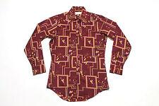 S * vtg 70s geometric poly disco shirt * atomic mod op art * 78.101