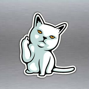 FU cat finger rude funny hand gesture vinyl sticker f**k you 85 x 100 mm