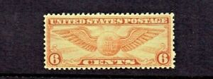 1934 U.S. Classic Airmail 6c Dl Orange Winged Globe Sc#C19 M/NH/OG GEM