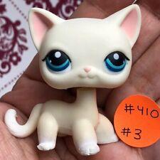 💖AUTHENTIC Littlest Pet Shop Shorthair CAT #410 +1 Random LPS White Blue Eyes