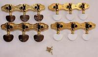 CLASSICAL GUITAR MACHINE HEADS / GOLD PLATE / BROWN OR WHITE PEARLOID HEAD