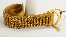 """ESTATE Jewelry JOAN RIVERS LEATHER & CRYSTAL BELT BRACELET  GOLDEN YELLOW - 8"""""""