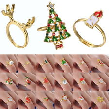 Lots Christmas Gifts Tree Ring Crystal Good Plated Jewelry New Adjustable