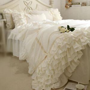 Victorian Style Lace Ruffles Beige BedSkirt Cotton Duvet Cover Set Bedding Set
