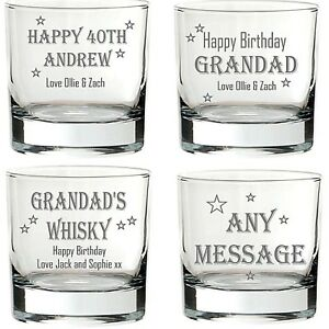 Personalised Engraved WHISKY Glass whiskey brandy gift Birthday any name message