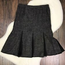 Lafayette 148 Women's Size 14 Trumpet Skirt Wool Black Gray Work Career