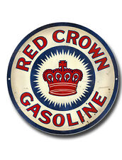 """RED Crown GASOLINE 11 """"Alta Lucentezza finitura in metallo Roundel sign.garage segno di petrolio."""