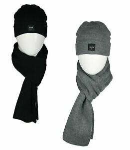 Only & Sons Men's Knitted Black Beanie Hat and Scarf Set Soft Warm Winter Cap