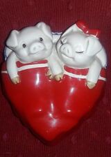 "Pigs in a Blanket by Fitz & Floyd,""Makin Bacon"" Ceramic Heart shape trinket box"