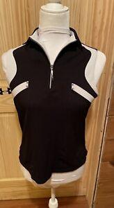 Jamie Sadock Women's Black/White Sleeveless 1/4 Zip Top Size XSmall ~ EUC ~ WOW