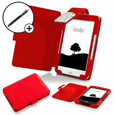 Forefront Cases® Red Case Cover Wallet LED Light Amazon Kindle 2016 with Stylus