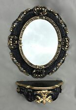 Miroir mural ovale NOIR- OR AVEC TABLE CONSOLE BAROQUE ANTIQUE 45x37 De Bain