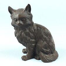 Carved Resin Cat Sculpture Signed