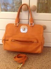 LONGCHAMP ORANGE LEATHER LIMITED EDITION BAG WITH LONG STRAP SIGNS OF USE