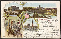 Gruß aus Halle,Saale,Universität,Studenten,alte Ansichtskarte 1901,Lithographie