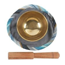 More details for small brass singing bowl mat gong gift set tibetan meditation